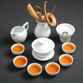 家用干泡茶盤辦公簡約陶瓷泡茶壺茶杯蓋碗 中式 純白瓷功夫茶具套裝