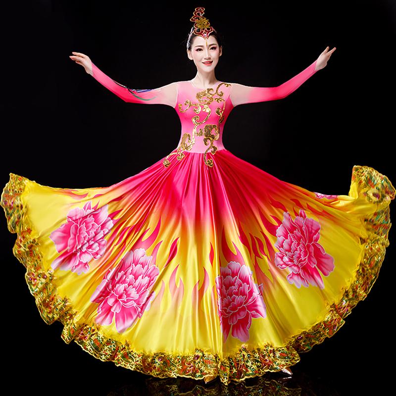 开场舞大摆裙演出服2020新款大型民族舞蹈服装女飘逸合唱长裙成人