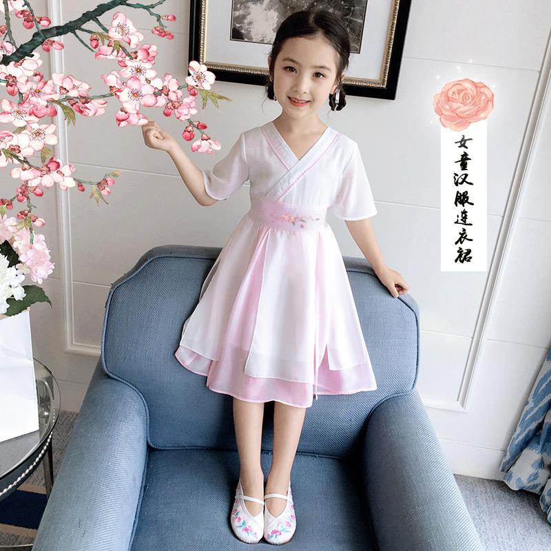 女童连衣裙2020新款夏季大儿童中国风古装汉服雪纺超仙12女孩襦裙