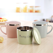Children's water cup portable household stainless steel cup with cover fall proof Baby Kindergarten mouth cup pupils' casual cup