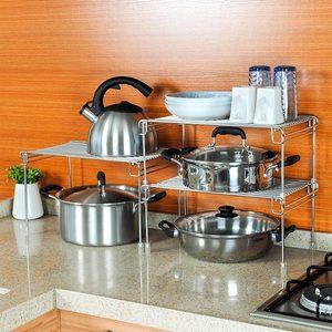 南北向304不锈钢橱柜置物架厨房锅架收纳架 台面架柜内分隔分层架