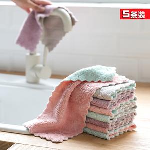 5条装家务清洁抹布厨房家用吸水洗碗布加厚洗碗毛巾不掉毛易清洗