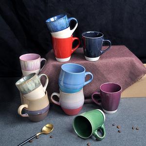 浮雕马克杯子早餐复古欧式风陶瓷杯