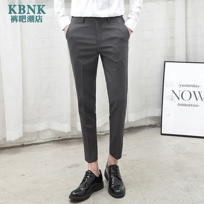 2020 fashionable casual pants slim fit small leg Capris youth hair stylist simple casual trousers mens trend