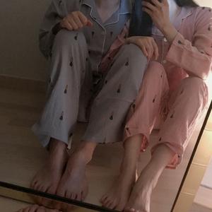 韓版新品秋冬優質INS風純棉舒適蘿卜印花甜蜜情侶長褲套裝睡衣女