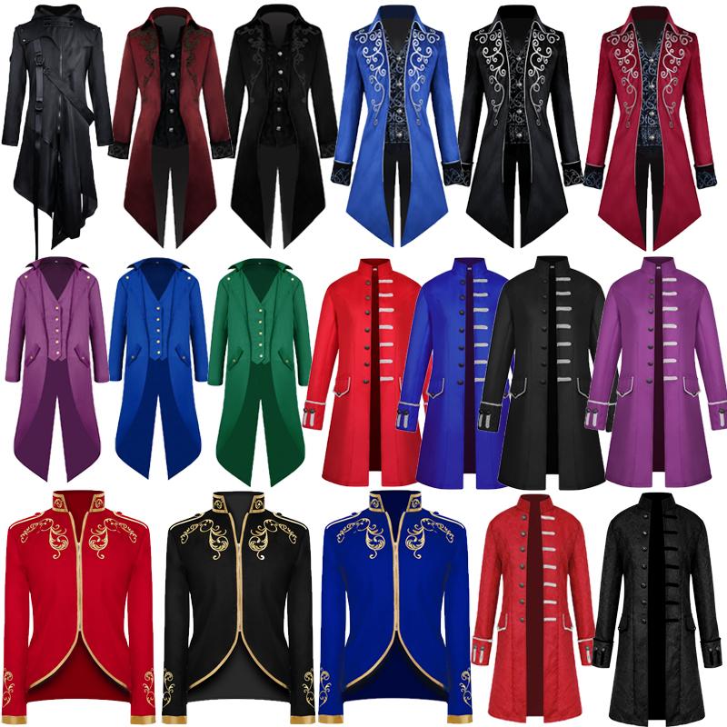 European and American adult mens mid long coat punk coat retro tuxedo Royal Prince Halloween cos Costume