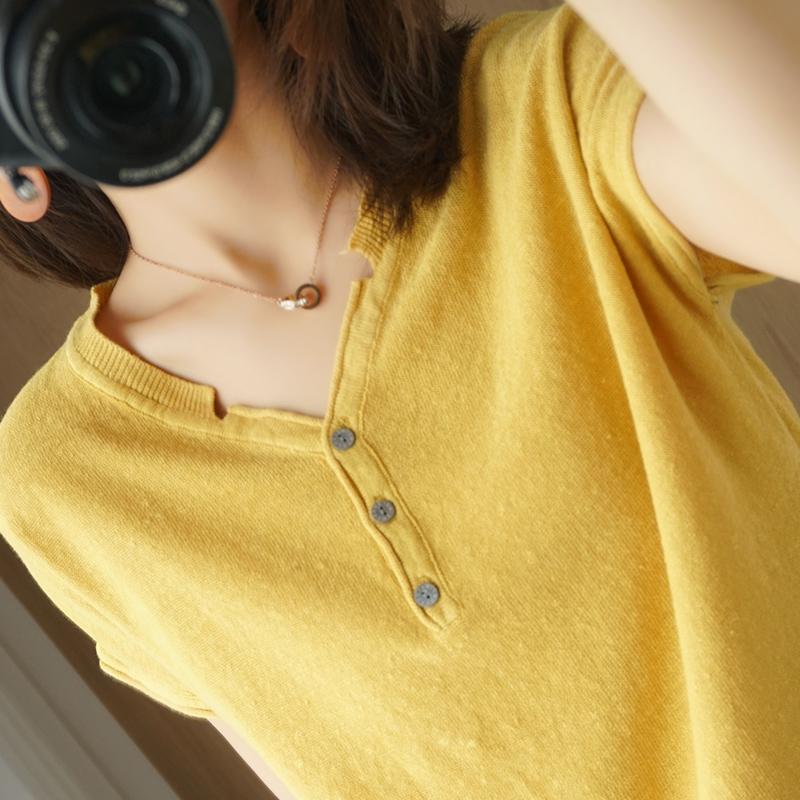 夏季新纯棉针织衫V领文艺清新休闲宽松大码半袖T恤百搭纯色短袖