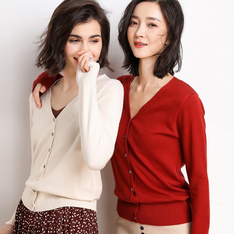 开衫女短款V领外搭夏季外套2020新款针织衫纯色毛衣长袖薄款开衫