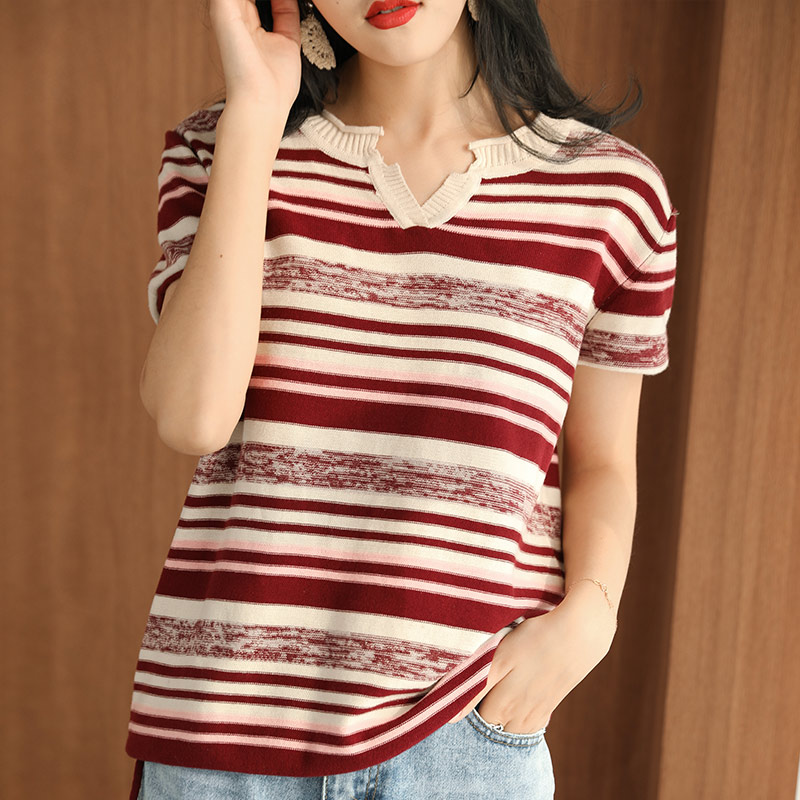 2020 summer new pure cotton T-shirt womens V-neck Korean stripe short sleeve loose bottomed thin sweater top