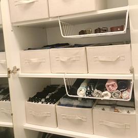 收纳箱布艺无盖袜子短裤收纳盒抽屉式衣柜装衣服储物箱小号可折叠