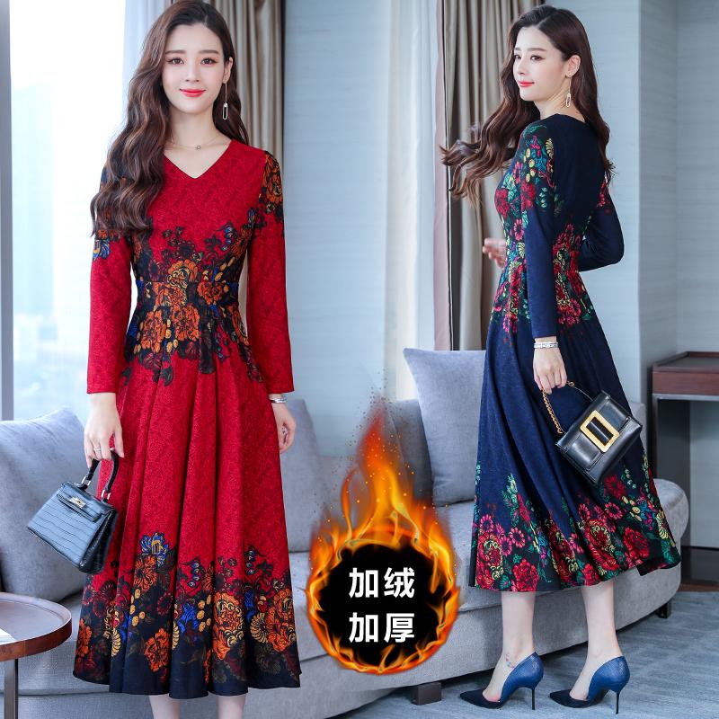 中年老年V领裙子秋季2018新款中年妈妈装中长款长袖提花连衣裙女