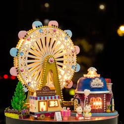 音乐盒八音盒摩天轮旋转木马diy手工儿童女孩玩具生日礼物送女生