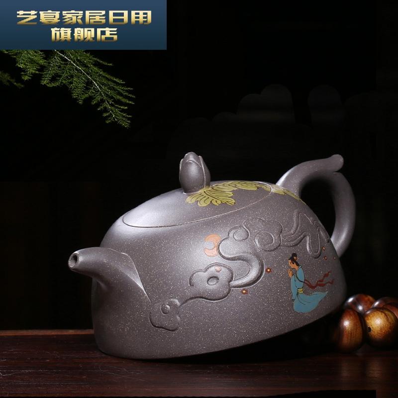 5YHMQ 宜兴紫砂壶纯全手工泥绘茶壶茶具原矿老段泥貂蝉拜月