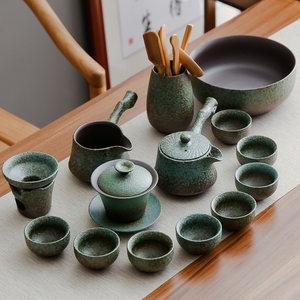 现代办公客厅日式功夫整套茶盘家用简约茶杯茶壶粗陶陶瓷茶具套装