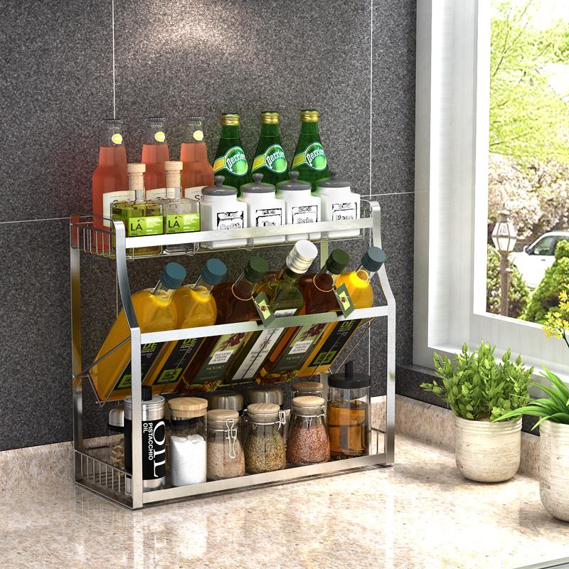 304不锈钢厨房置物架落地免打孔壁挂厨具收纳用品用具调味调料架