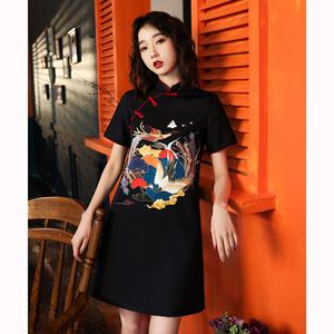 宽松旗袍改良版少女年轻款夏季日常生活装黑色中国风连衣裙女