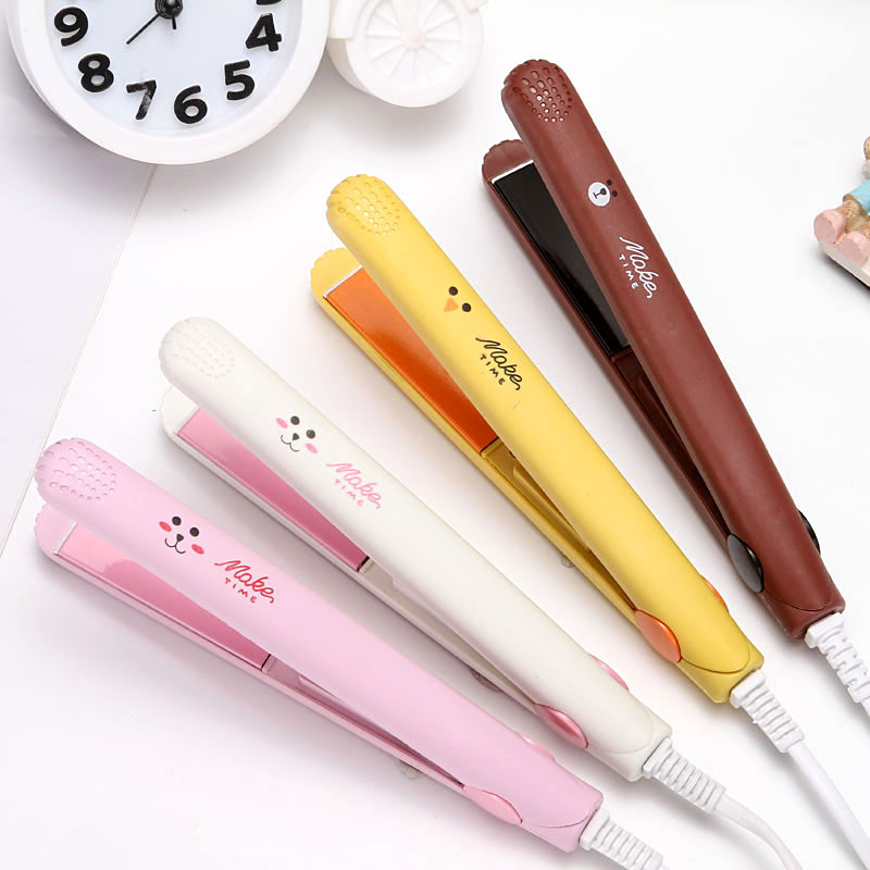 Mini splint straight and curly hair dual purpose buckle bangs curly stick female hair injury free portable Korean student ironing board