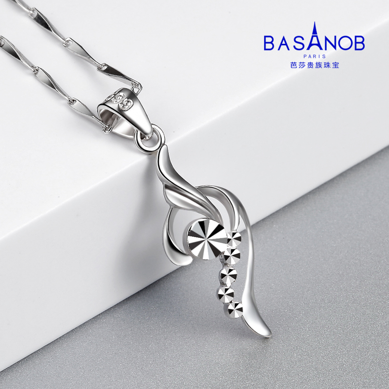 Pt999 platinum pendant female platinum necklace Angel Wing Pendant genuine clavicle chain gift for girlfriend