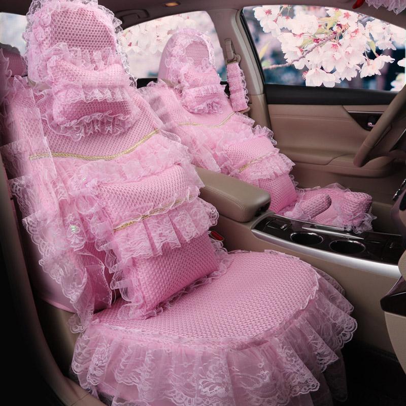 新款四季通用全包蕾丝花边汽车坐垫女士夏季冰丝可爱卡通女神座套