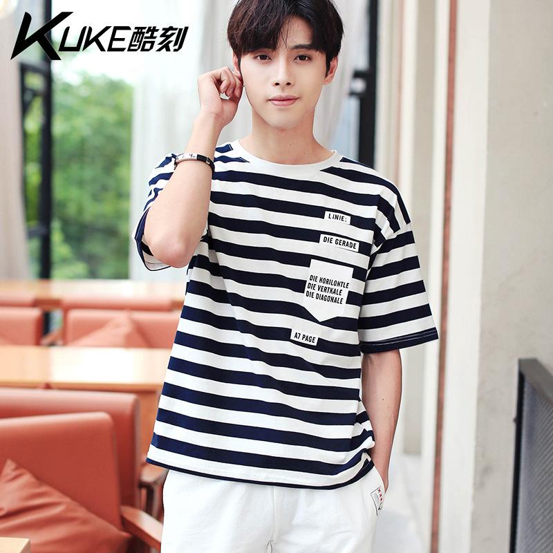 Short sleeve t-shirt mens fashion brand individual fashion trend Korean version Harajuku style 2019 new handsome pattern teenagers