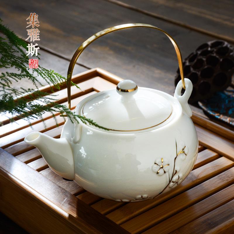 茶壶陶瓷泡茶壶单壶壶大茶壶单个瓷茶壶茶具套装过滤提梁家用水壶买三送一