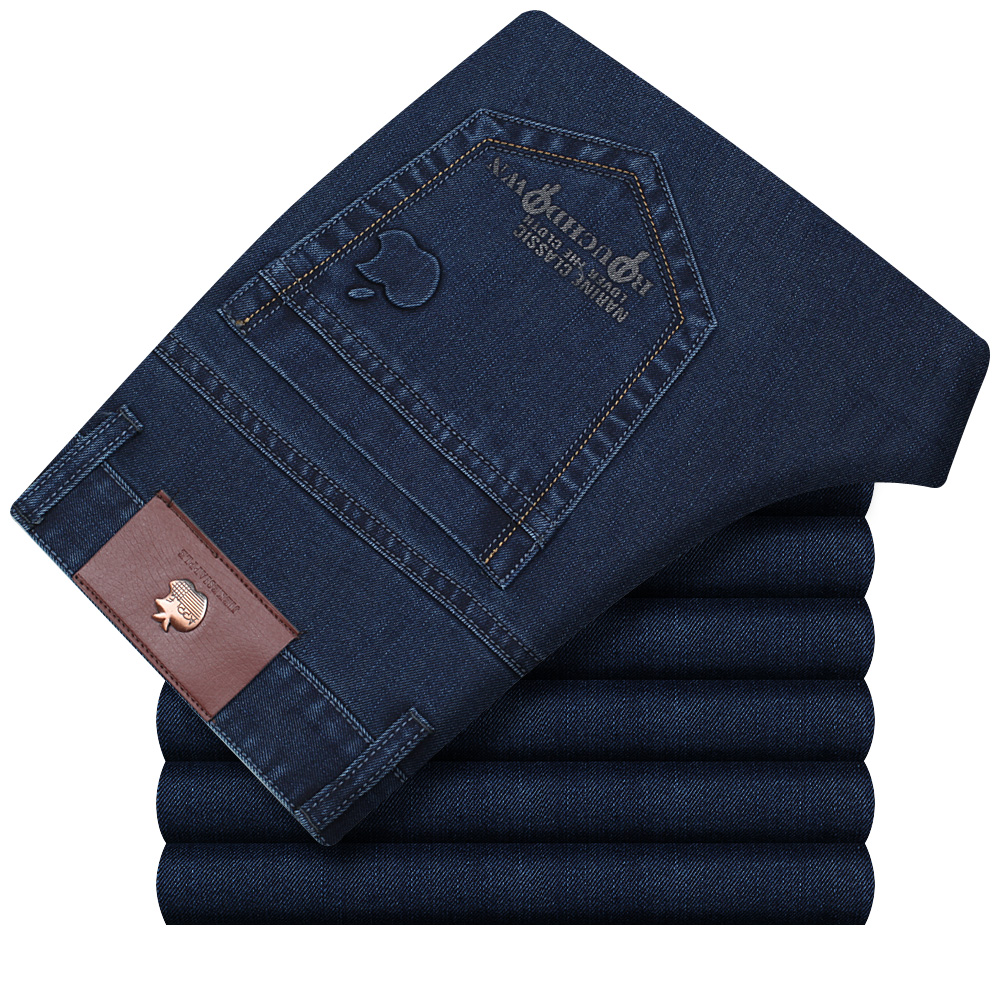 Genuine Apple middle aged mens jeans summer thin high waist mens trousers straight tube loose casual denim