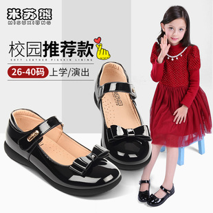 女童皮鞋黑色儿童真皮软底表演出2020春秋季新款公主小孩学生单鞋图片