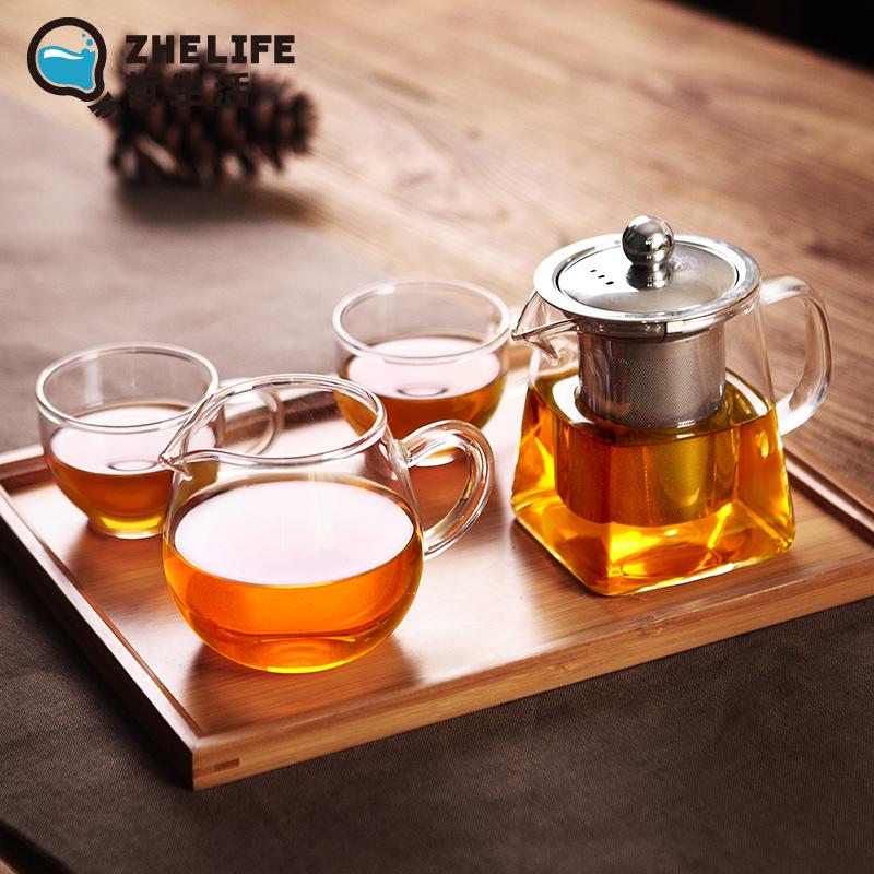 耐熱玻璃茶壺不鏽鋼過濾泡茶壺耐高溫紅茶茶具套裝家用泡茶器小號