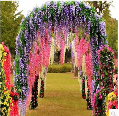 仿真紫藤花 假花 塑料花 吊花挂花 室内装饰 室外装饰 游乐场装饰