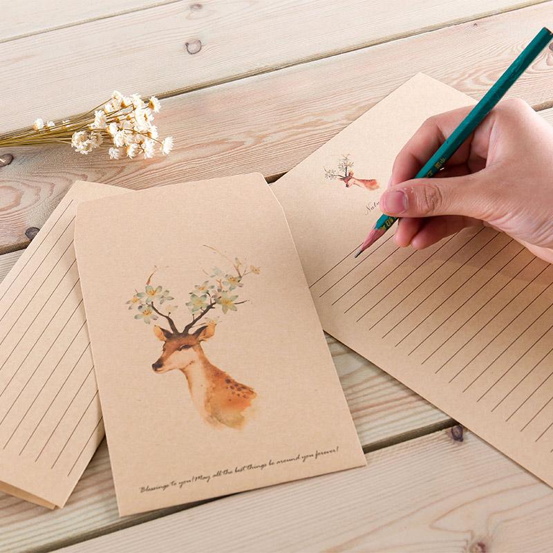 感恩节圣诞节新年元旦春节满9元包邮森林小鹿创意信封 复古信纸信封套装 情书 爱心信封小清新 简约 文艺