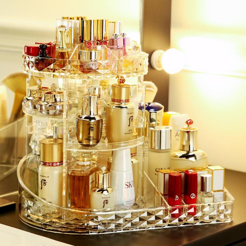 简约旋转化妆品收纳盒亚克力家用梳妆台桌面置物架杂护肤口红刷桶