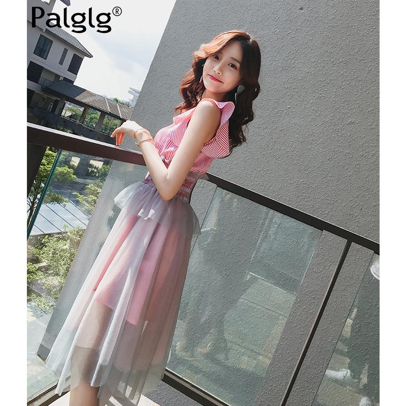 连衣裙女夏装2018新款时尚气质韩版女装裙子网纱条纹粉色收腰长裙