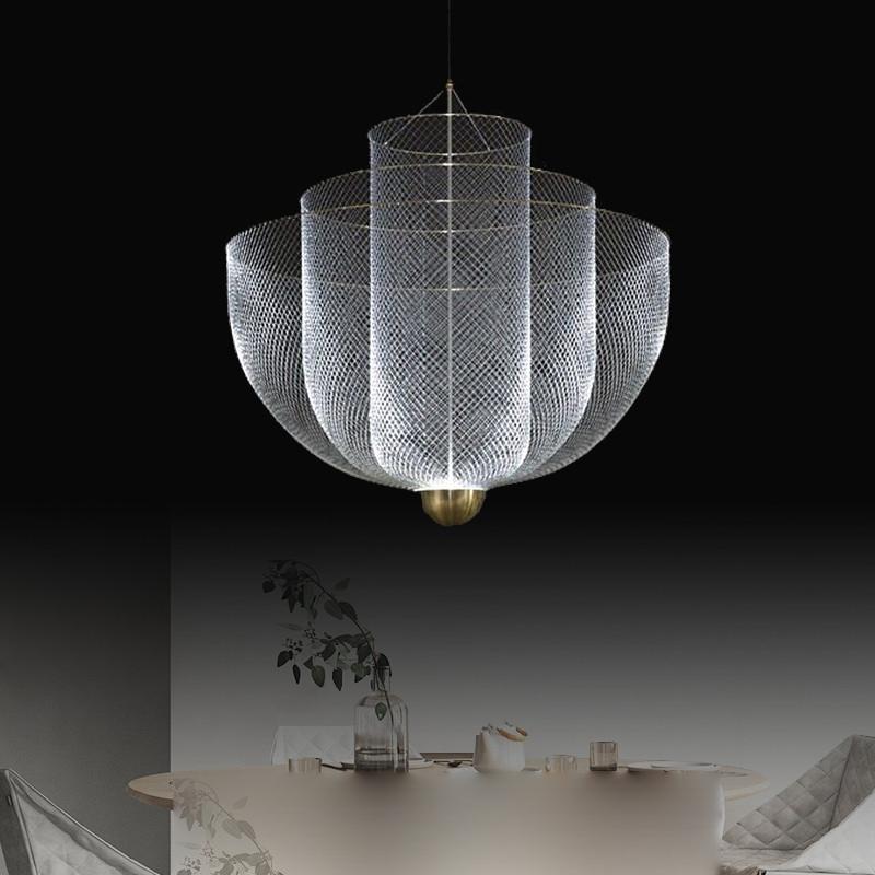 荣裕金属吊灯个性客厅餐厅后现代轻奢简约设计师的灯网格别墅吊灯