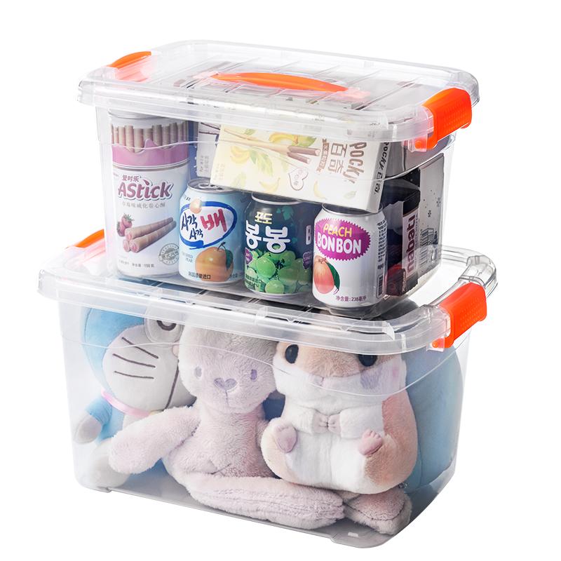 透明收纳箱塑料整理箱有盖收纳盒小号零食学生宿舍衣服玩具储物箱