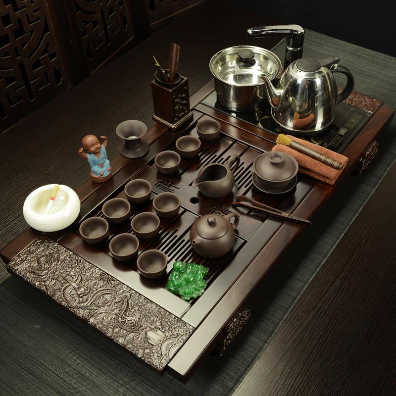 龍潯黑檀木茶具套裝 整套功夫茶具紫砂汝窯電磁爐花梨實木茶盤