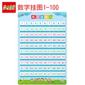开心宝贝 学前幼儿数字1-100挂图早教启蒙认知儿童学习数字 无声