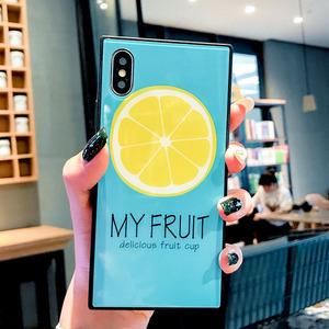 NKT 方形柠檬片苹果8plus手机壳iPhoneXs max玻璃套7P新款xr防摔X个性小清新iPhone11 pro MAX男女七八壳套