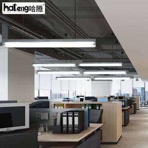 led办公室写字楼长条灯咖啡厅网吧商业创意个性长方形铝材吊线灯