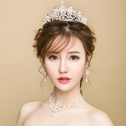 新娘头饰新款结婚皇冠三件套韩式超仙发饰婚纱敬酒礼服简约配饰品