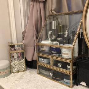 欧式复古玻璃化妆品收纳盒梳妆桌面整理护肤品翻盖防尘首饰置物架