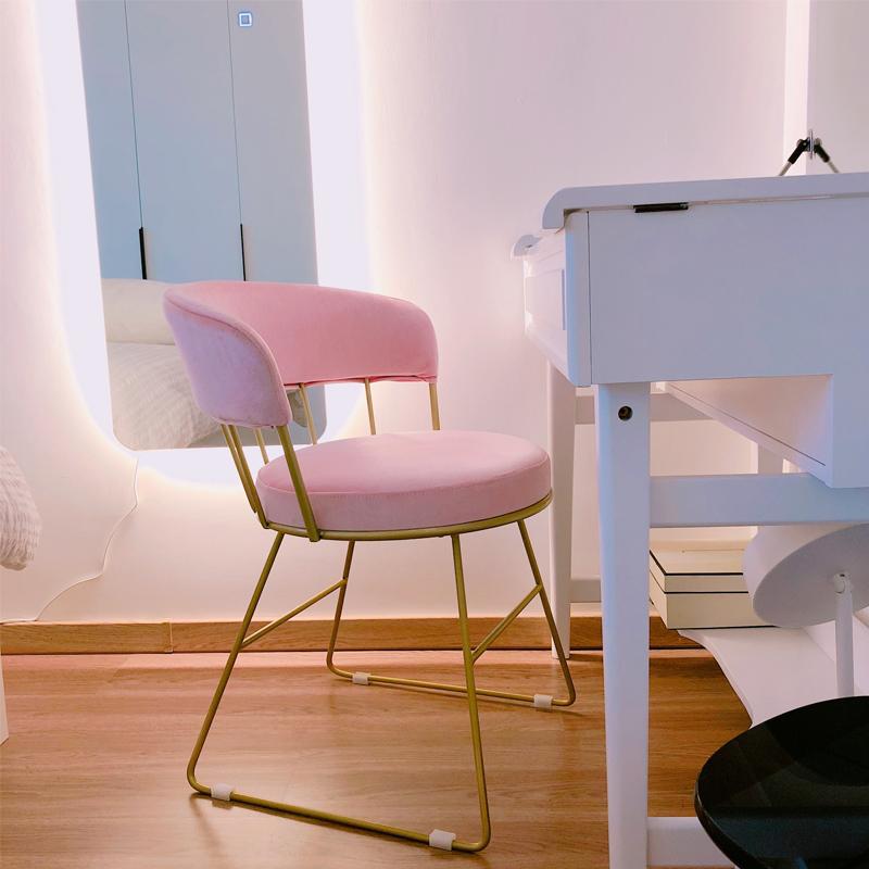 少女粉色化妝椅現代簡約梳妝臺凳子網紅ins餐椅北歐臥室靠背椅子