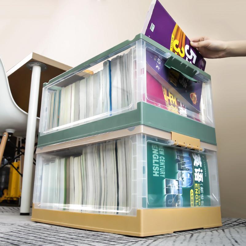 书箱带轮子透明收纳箱学生教室用放书本装书籍的整理储物盒可折叠图片