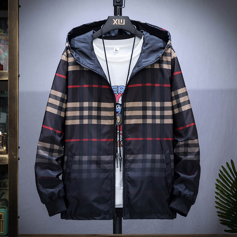 Mens coat spring and autumn trend double-sided jacket plus fat plus size student leisure Plaid sports color matching top