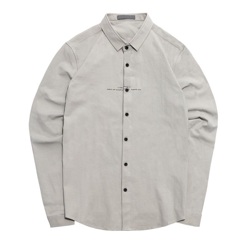 秋季学院风韩版修身衬衫青少年学生潮男长袖衬衣autumn shirt men