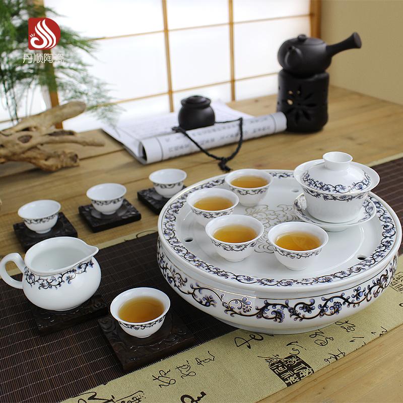潮汕功夫茶具套装陶瓷青花瓷双层家用整套带圆形茶盘储水高档骨瓷