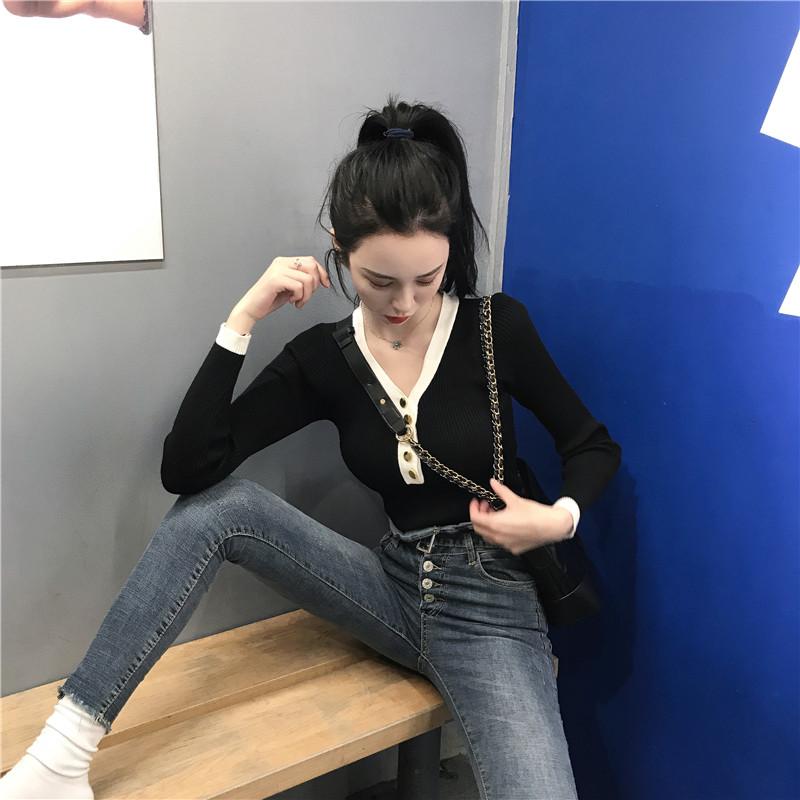 扑啦啦 韩风Chic拼色V领修身长袖针织衫女秋季新款气质学生上衣薄