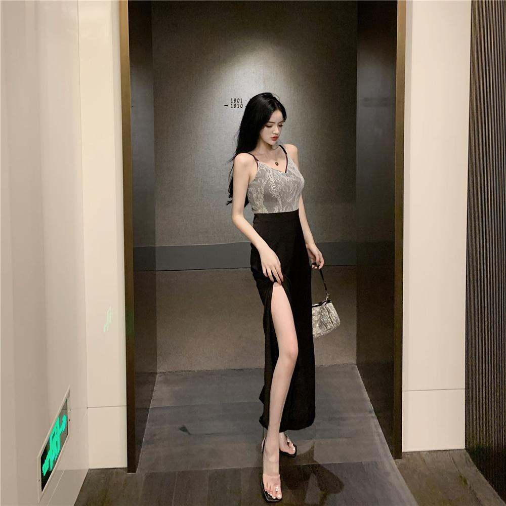 蕾丝吊带高腰连体裤2021夏新款韩版网红性感开衩黑色直筒长裤女装