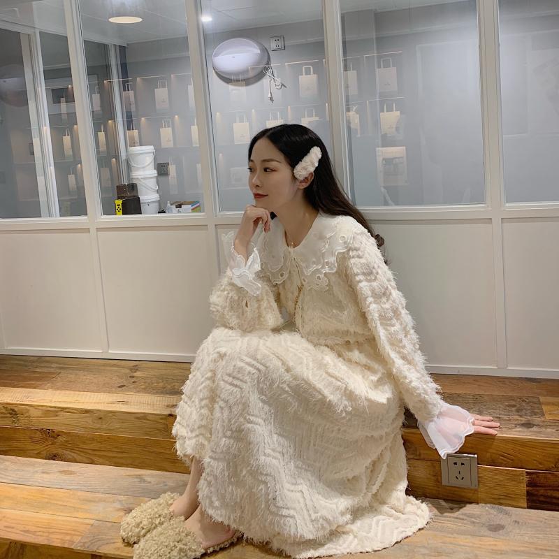 韩风甜美娃娃领拼接流苏连衣裙女秋冬收腰长袖仙女裙子法式少女裙