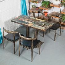 快餐桌椅组合小吃店餐饮家具火锅大排档早餐面馆桌椅商用饭店餐椅