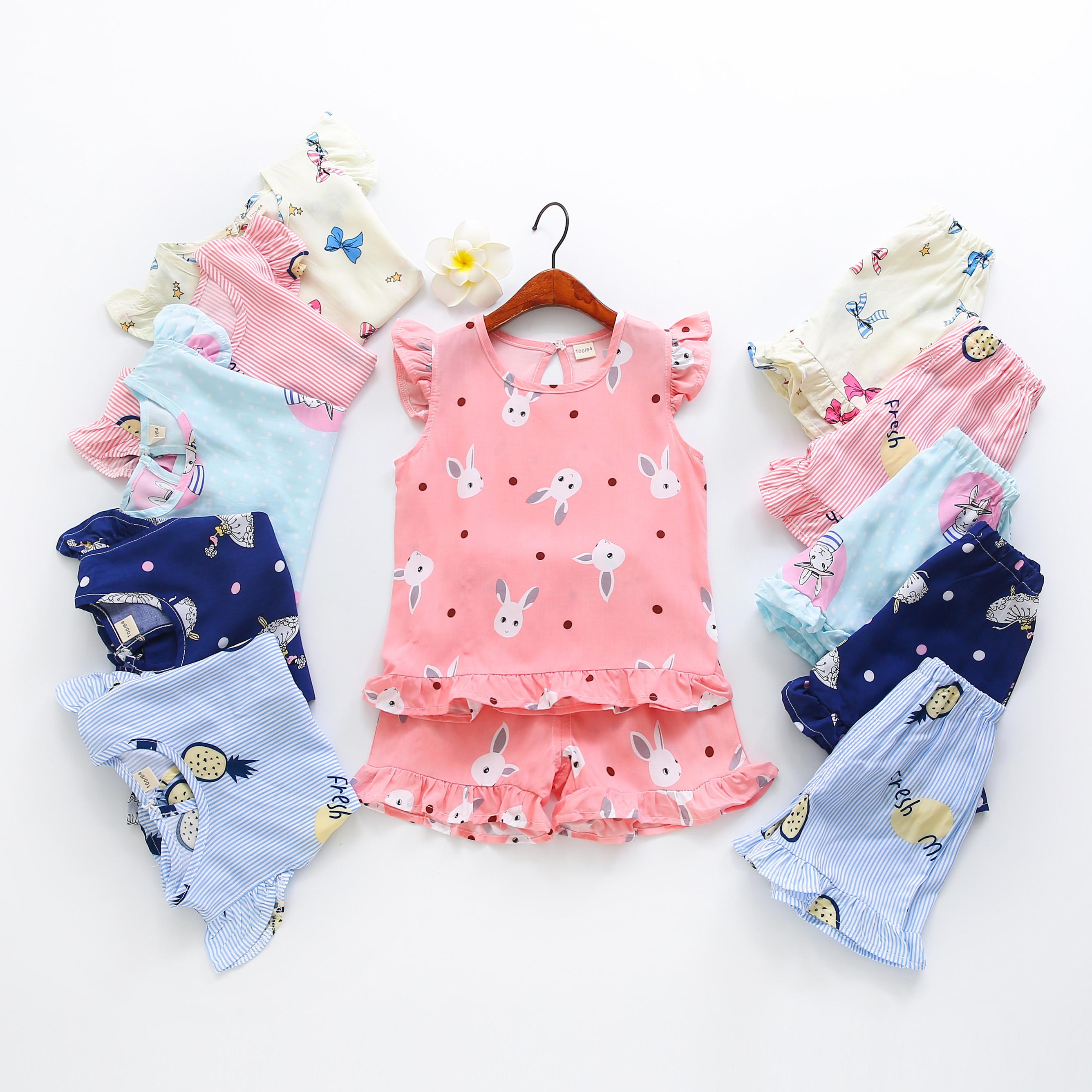 女童人造棉夏季薄款绵绸空调服儿童可爱棉绸套装家居服女宝宝睡衣